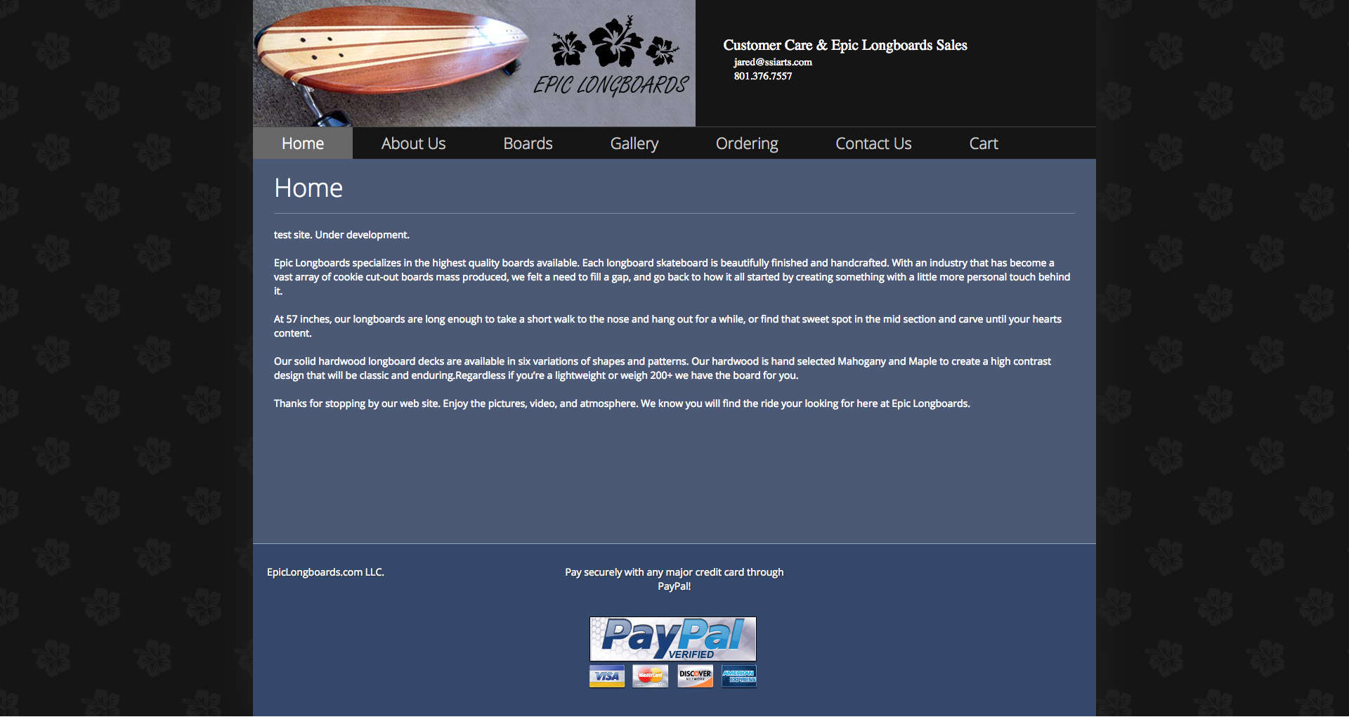 new Epic Longboards site designed by Sean R Parker